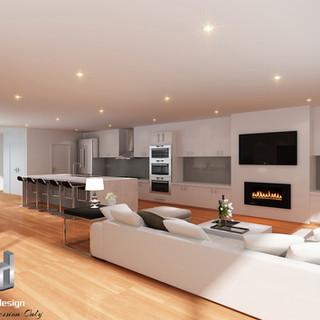 3D internal living room render - Ocean Grove Victoria