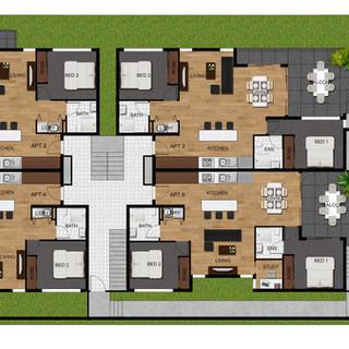 2D colour site plan for a multi unit development - Bott St, Ashgrove QLD