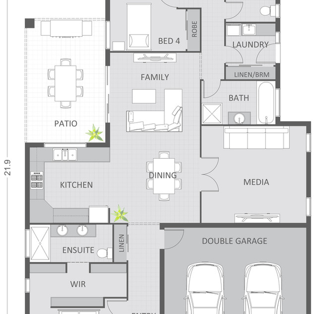 2D Floor plan, custom coloured and detailed to clients requirements. 20 floor plans in total of this style for a building company - DJ Jones Construction - Burdell QLD