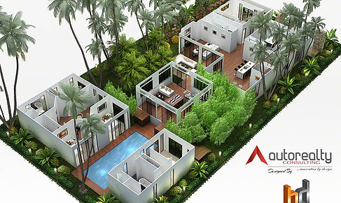 3D floor plan marketing image including landscaping