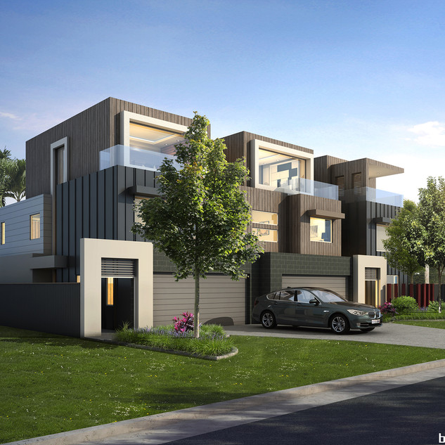 3D external render for a 3 townhouse development project - Avanti St Mermaid Waters QLD