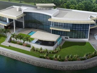 3D Rendering rear facade waterfrontage Broadbeach Waters QLD
