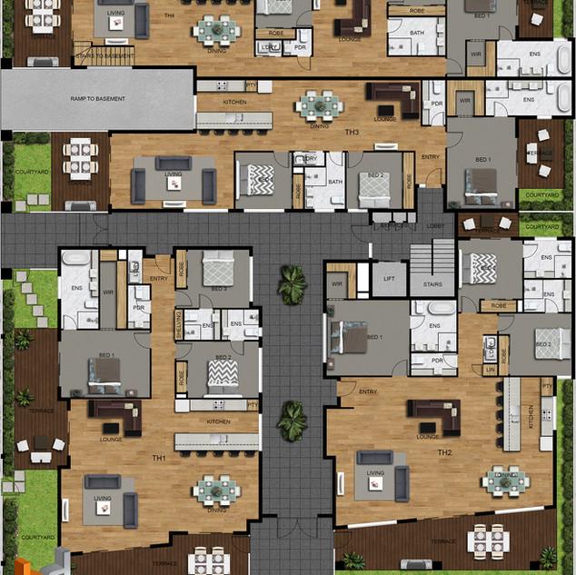 2D Colour site plan and floor plans for a development project Mt Martha Victoria