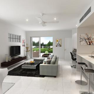 3D internal living room render - Alderly QLD by Budde Design
