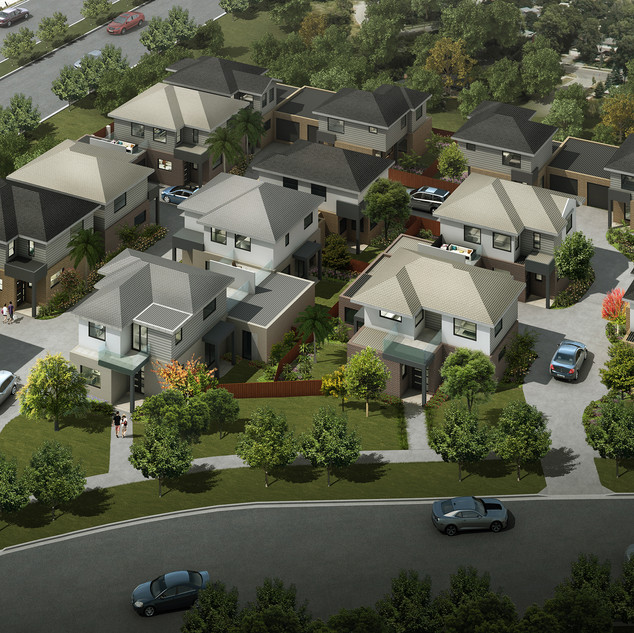 3D external birds eye view render for a 15 unit development - Springvale Victoria