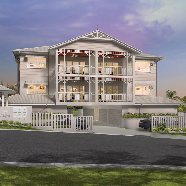 3D external render of a multi unit development - Stamford St, Yeerongpilly, Brisbane QLD
