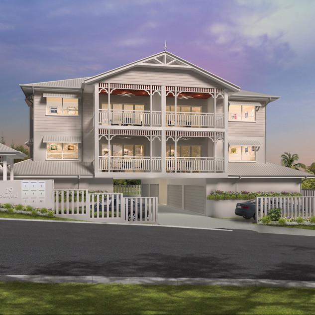 3D external render of a multi unit development - Stamford St, Yeerongpilly, Brisbane QLD