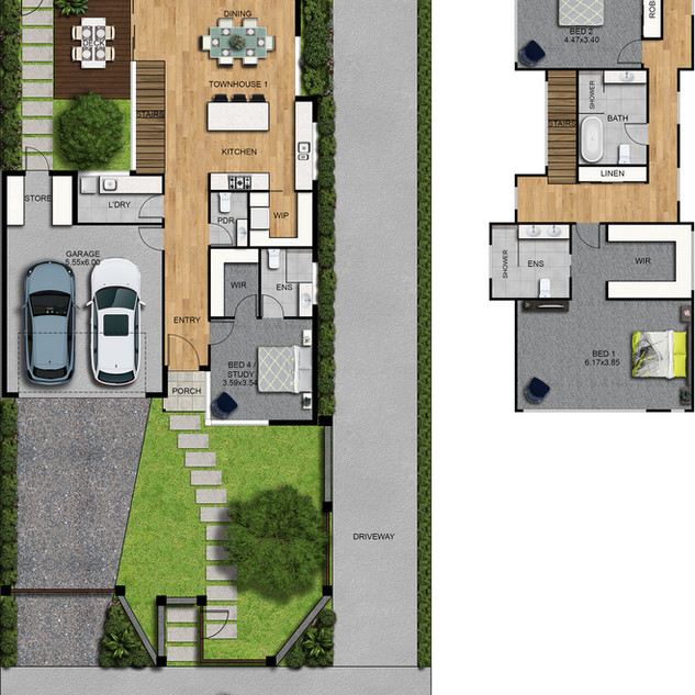 2D colour floor plan and site plan, 3 bedroom, 2 level townhouse - Strathmore Victoria
