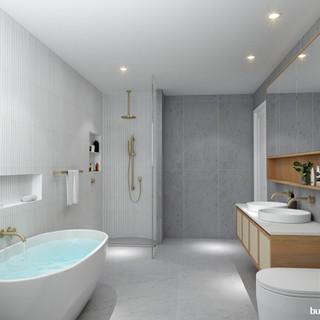 3D Internal Penthouse Bathroom render, development project Scarborough QLD