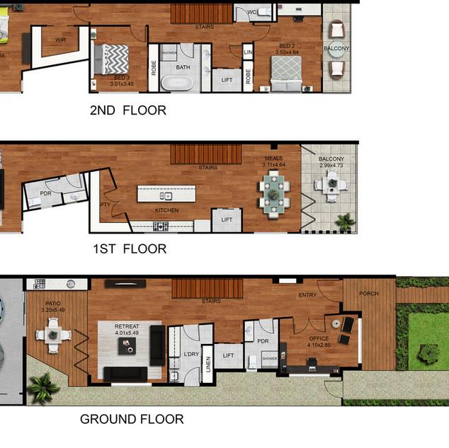 2D colour floor plan 3 level townhouse - Moonee Ponds Vic
