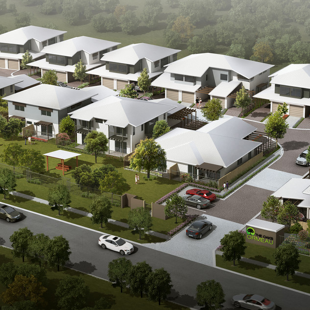 3D external birds eye view render for a development project - Ormeau Oaks, Ormeau Hills QLD