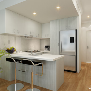 3D internal kitchen render Cedar Cove - Perth WA by Budde Design