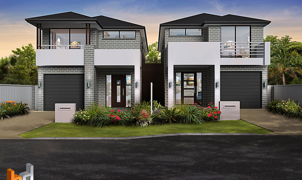 3D Rendering Sydney Area - Dual Occupancy townhouse development - Revesby NSW