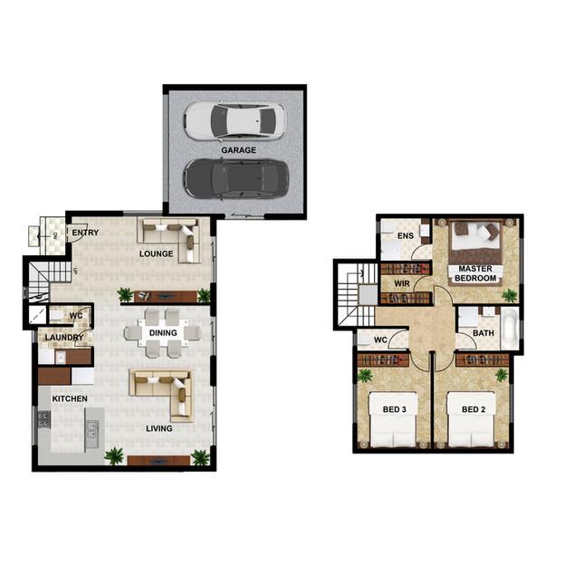2D colour floor plan Unit2 for a development project - Burwood East Victoria