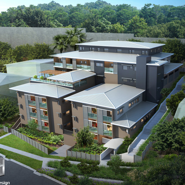 3D external birds eye render for a development project - St Lucia QLD