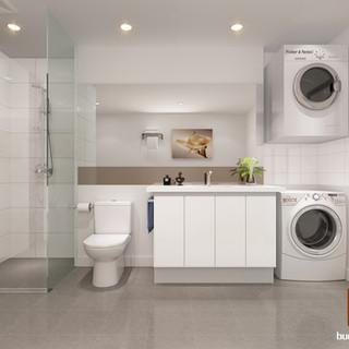 Cross Section 3D bathroom render by Budde Design