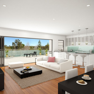 3D Internal Render of Kitchen, Living, Balcony and actual views - Image used to market a multi unit development - Kalamunda WA