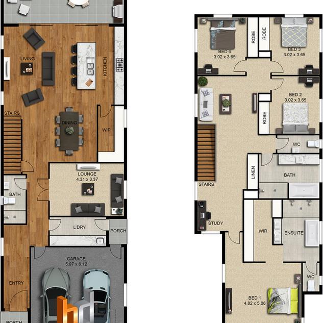 2d colour floor plan, 4 bedroom 2 level house by budde design