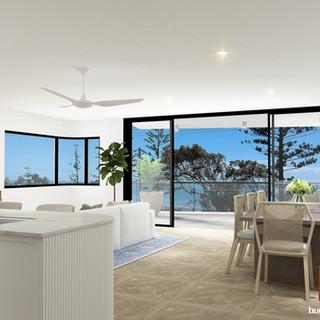 3D Internal Living room render, development project Scarborough QLD