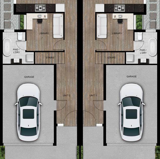 2D colour site plan ground floor for a townhouse development - Hawthorn East, Melbourne, Victoria