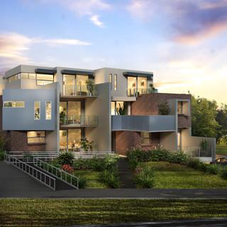 3D external artist impression of a multi unit development - Hughesdale, Melbourne, Victoria