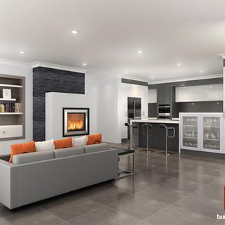 3D internal render of a living/kitchen space by Budde Design