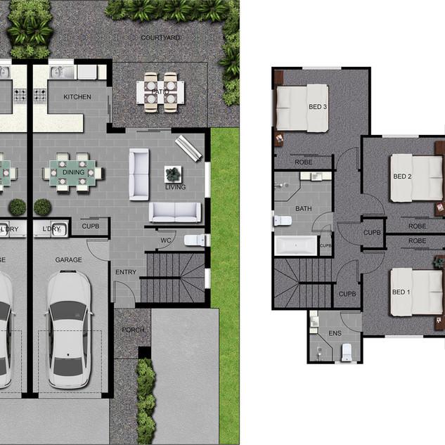2D colour floor plan for a multi unit development - Park Ridge QLD