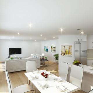 3D internal render kitchen/living