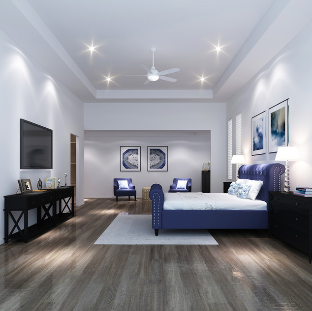 3D bedroom render for a luxury canal home in Sanctuary Cove QLD