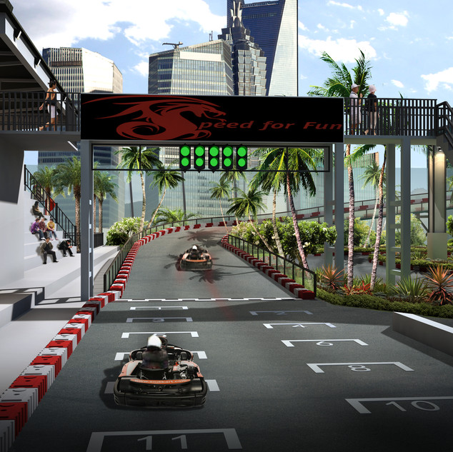 3D Artist Impression of a Go Cart track concept in Shanghi China