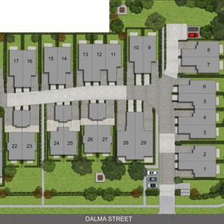 2D colour site plan for a 29 townhouse unit development - Ormeau Oaks, Ormeau Hills QLD