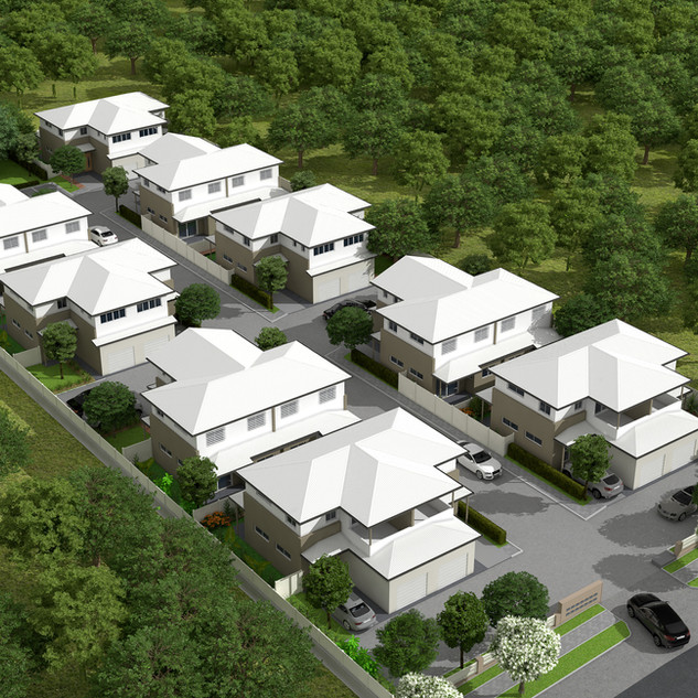 3D Overview of a townhouse developement - Images used for signage and marketing - Loganlea QLD