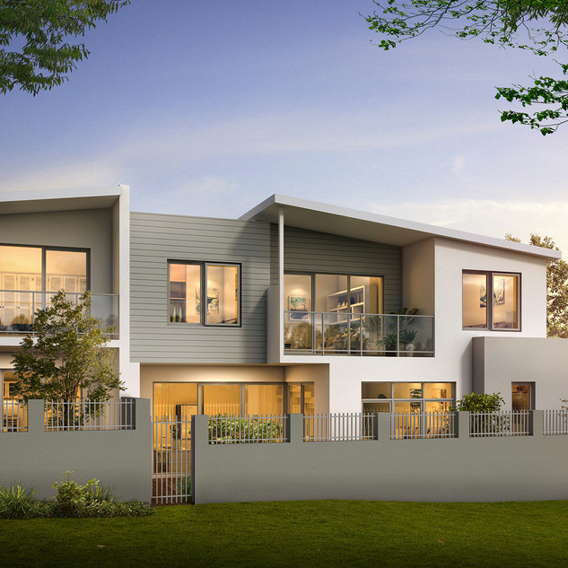 3D Render 3 unit Development backing onto parkland - Hillarys WA