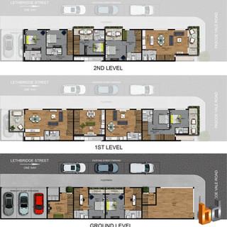 2D colour site plan and floor plan, 3 level 4 dwelling development - Melbourne Victoria