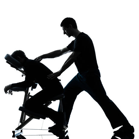 two men performing chair back massage in