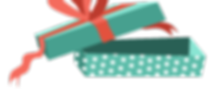 Åpne gaveeske med rød sløyfe