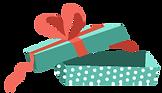 Otevřené dárková krabička s červenou stu