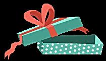 Caixa de presente aberta com fita vermel