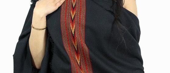 Kullu Pure Wool Stole With Dari (Black)