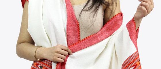 Kullu Pure Wool Stole With Dari (White & Saffron)