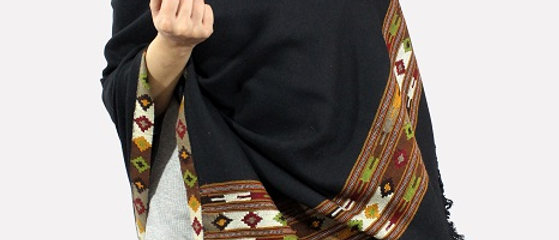 Kullu Pure Wool Shawl (Deep Black)