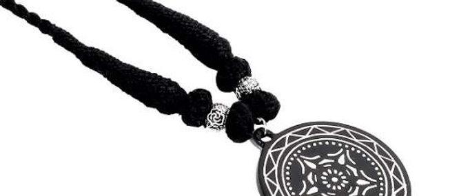 Bidriware Silver Inlay Mandala Pendant