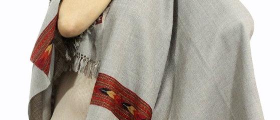 Kullu Pure Wool Stole With Dari (Paper Ash)