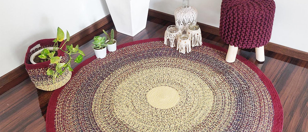 Cotton Forest Rug |Hand Braided | Native Rajasthan