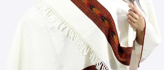 Kullu Pure Wool Off White Stole With Dari
