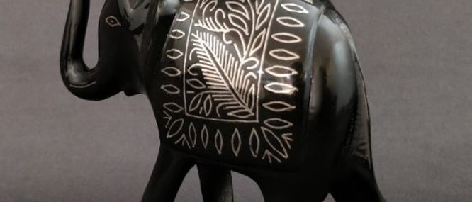 Bidriware Silver Inlay Elephant Medium