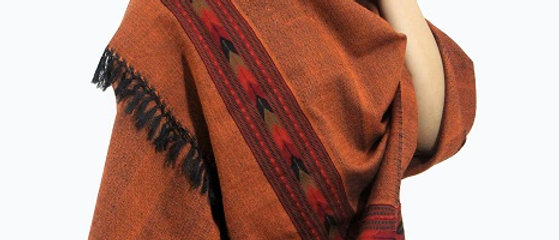 Kullu Pure Wool Stole With Dari (Soil)