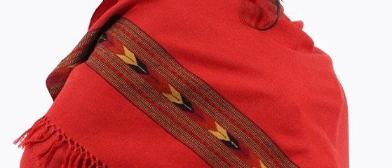 Kullu Pure Wool Stole With Dari (Saffron & Turmeric)