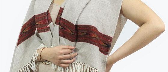 Kullu Pure Wool Stole With Dari (Cloud Grey)