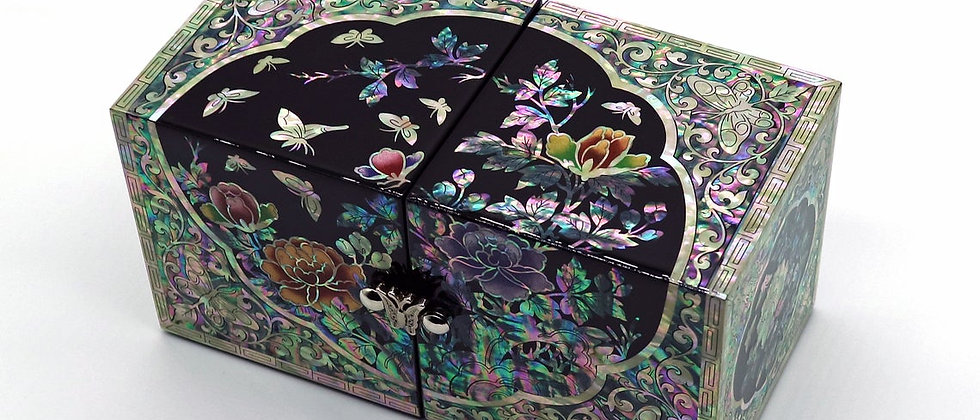 Korean Mother of Pearl Jewelry Box Wood Secret Keepsake